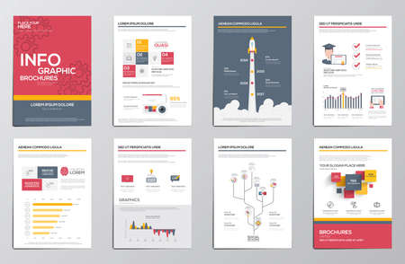 Infographics elementen voor corporate brochures. Collectie moderne infographic elementen in een folder en brochure concept. Platte design. Vector