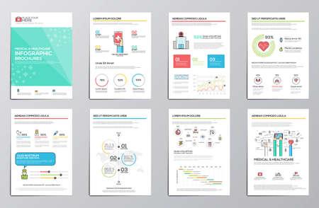 cirujano: Infografía médica y de la salud elementos para folletos corporativos. Colección de elementos infográficos modernas. Diseño plano. Vector Vectores