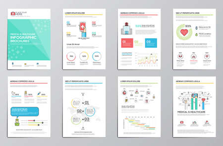 medical equipment: Medical and Healthcare infographics elements for corporate brochures. Collection of modern infographic elements. Flat design. Vector