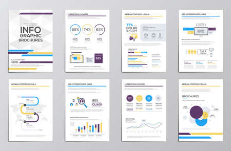 media logo: Infographics elements for corporate brochures. Collection of modern infographic elements in a flyer and brochure concept. Flat design. Vector