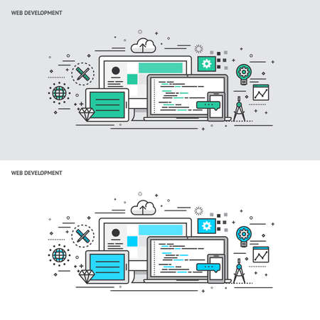 development: Thin line flat design concept banners for Web Development. Modern vector illustration concept