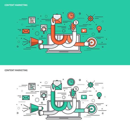 Dünne Linie flache Design-Konzept Banner für Content Marketing. Moderne Vektor-Illustration Konzept