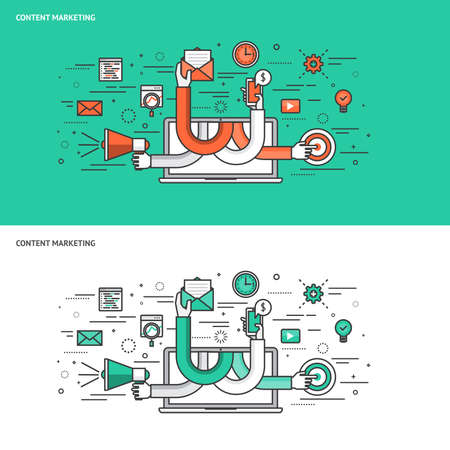 strategy: Delgada línea de diseño plano concepto de fondo para el marketing de contenidos. Ilustración vectorial Moderno concepto