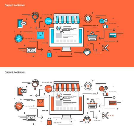 merchant: Thin line flat design concept banners for Online Shopping. Modern vector illustration concept Illustration