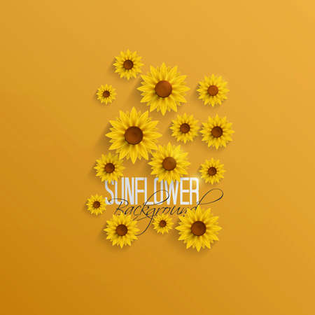 sacking: Abstract Autumn Background with Paper Sunflowers. Vector