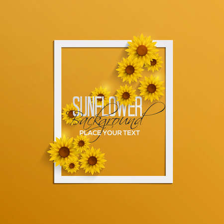 Abstract Autumn Background with Paper Sunflowers. Vector
