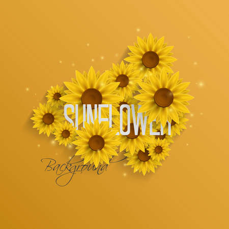sunflowers: Abstract Autumn Background with Paper Sunflowers. Vector