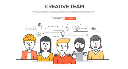 Grafische concept afbeelding vlakke lijn ontwerp, website elementen lay-out van het creatieve team. Pictogrammen Verzameling van Creative Work Flow items en elementen. Vector Illustratie Stock Illustratie