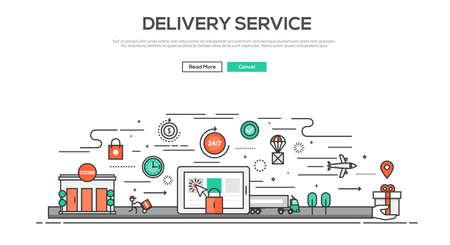 flujo: Diseño plano Línea imagen gráfica concepto, elementos del sitio web el diseño del servicio de entrega. Colección de los iconos de los elementos y Elementos de flujo de trabajo creativo. Ilustración vectorial