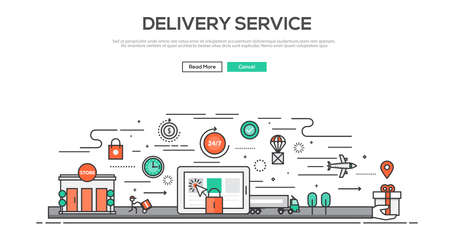 global logistics: Flat Line design graphic image concept, website elements layout of Delivery service. Icons Collection of Creative Work Flow Items and Elements. Vector Illustration