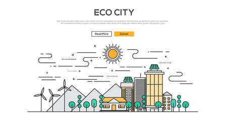 Grafische concept afbeelding vlakke lijn ontwerp, website elementen lay-out van Eco City. Pictogrammen Verzameling van Creative Work Flow items en elementen. Vector Illustratie