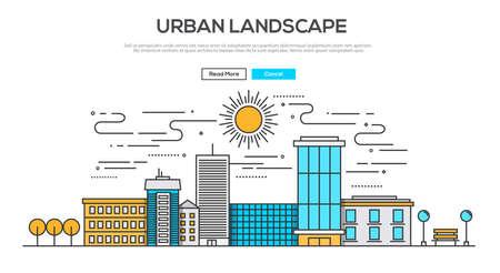 風景: フラット ライン デザイン グラフィック イメージの概念、都市景観のウェブサイト要素のレイアウト。創造的な作業フロー項目および要素のアイコンのコレクショ