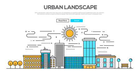 krajobraz: Płaska linia obrazu graficznego pojęcie, elementy www układ miejskiego krajobrazu. Icons Collection pozycji kreatywny przepływ pracy i elementy. Ilustracja wektorowa