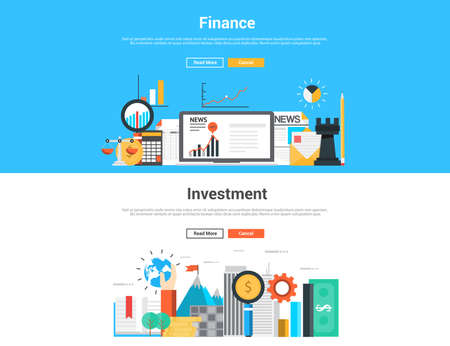 Platte ontwerp grafische afbeelding concept, website elementen lay-out van Financiën en Beleggingsdiensten. Pictogrammen Verzameling van Creative Work Flow items en elementen. vector Illustration Stock Illustratie