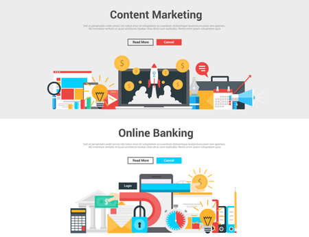 sell online: Flat design graphic  image concept, website elements layout of  Content Marketing and Online Banking. Icons Collection of Creative Work Flow Items and Elements. Vector Illustration