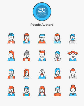 people in line: Set of flat line design people icon avatars for social network and your design. Vector Illustration