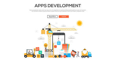 mobile application: Flat  design graphic image concept, website elements layout of Apps Development. Icons Collection of Creative Work Flow Items and Elements. Vector Illustration