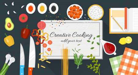 Food and cooking banner with kitchenware utensils, spices and vegetables on wooden table worktop. Vector Illustration Illustration