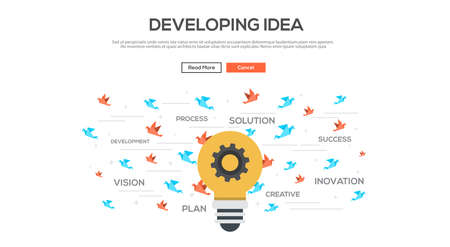 work flow: Flat design graphic image concept, website elements layout of  Developing idea. Icons Collection of Creative Work Flow Items and Elements. Vector Illustration