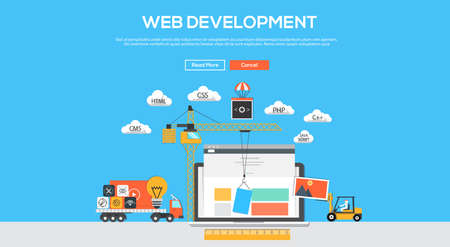 Flat  design graphic image concept, website elements layout of Web Development. Icons Collection of Creative Work Flow Items and Elements. Vector Illustration