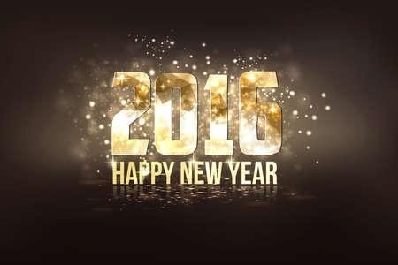 frohes neues jahr: Frohes Neues Jahr 2016 bunte Gru�karte in polygonalen Origami-Stil. Party Poster, Gru�karte, Banner oder Einladung. Anzahl von Dreiecken gebildet. Vektor