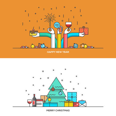 the material: Christmas and New Year flat line design concept for  web banner, marketing material and greeting cards. Vector Illustration