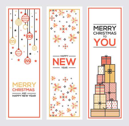 prosperidad: Conjunto de diseño de la línea plana de Navidad y tarjetas de felicitación de Año Nuevo. Ilustración vectorial