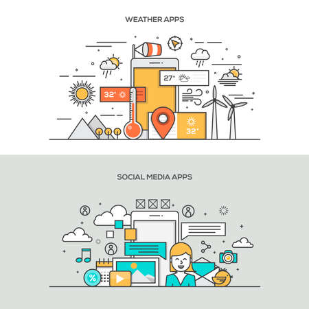 Set of Flat Line Color Banners Design Concepts for Weather apps and Social Media apps. Concepts web banner and printed materials.Vector Vettoriali