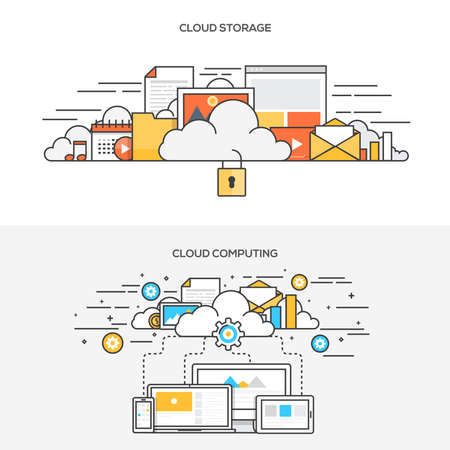 Set of Flat Line Color Banners Design Concepts for cloud storage and Cloud computing. Concepts web banner and printed materials.Vector  イラスト・ベクター素材