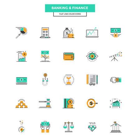 Conjunto de icono moderno de la línea plana Concepto de Banca y Finanzas uso de Project Web y Aplicaciones. Ilustración del vector Foto de archivo - 51170053