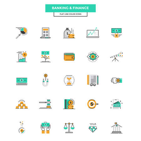 funds: Set of Modern Flat Line icon Concept of Banking and Finance use in Web Project and Applications. Vector Illustration