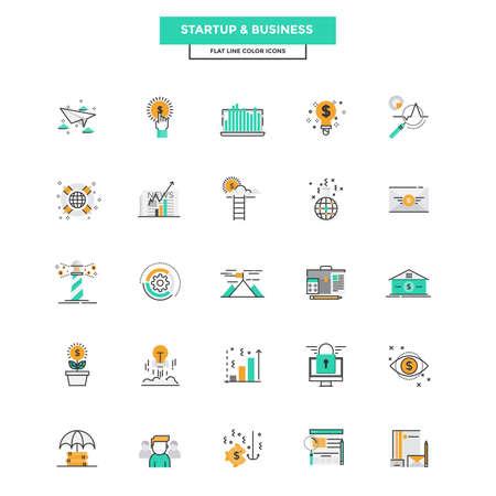 Ensemble de l'icône moderne Flat Line Concept of Business, démarrage, gestion, marketing en ligne, de recherche et d'analyse utilisent dans Project Web et Applications. Vector Illustration