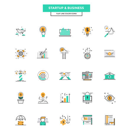Set of Modern Flat Line icon Concept of Business, Start up , Management, Online Marketing, Research and Analysis use in Web Project and Applications. Vector Illustration