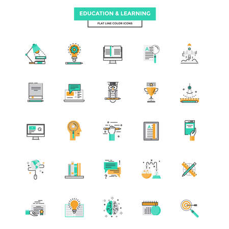 learning icon: Set of Modern Flat Line icon Concept of Education, Leaning, Online Education, Video Tutorial, E-Learning and Thinking use in Web Project. Vector Illustration