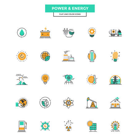 Set of Modern Flat Line icon Concept of Power and Energy use in Web Project and Applications. Vector Illustration Vettoriali