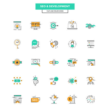 web marketing: Set of Modern Flat Line icon Concept of Seo,Development , Management, Online Marketing, Research and Analysis use in Web Project and Applications. Vector Illustration