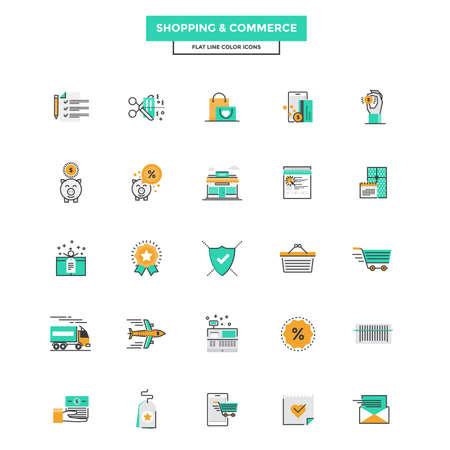 近代的なフラット ライン アイコン ショッピング、e コマースのコンセプトの設定、配信、m コマースは Web プロジェクトやアプリケーションで使用