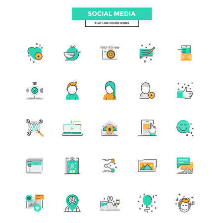twit: Set of Modern Flat Line icon Concept of Social Media use in Web Project and Applications. Vector Illustration