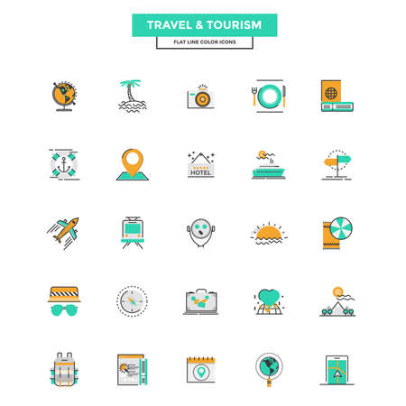 travel icon: Set of Modern Flat Line icon Concept of Travel and Tourism use in Web Project and Applications. Vector Illustration Illustration