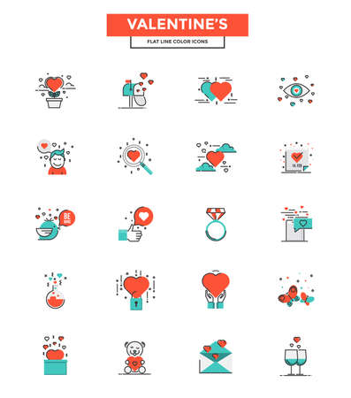romantic sex: Set of Modern Flat Line icon Concept of Valentines day use in Web Project and Applications. Vector Illustration