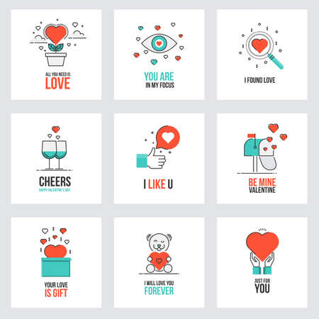 Set of flat line design Valentines day greeting cards, web banner, badge, ad and printed materials. Vector Illustration