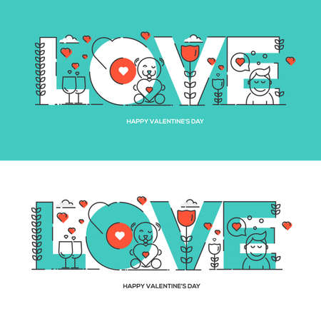 line material: Flat line design Valentines day greeting card. Vector illustration for website banner and marketing material.