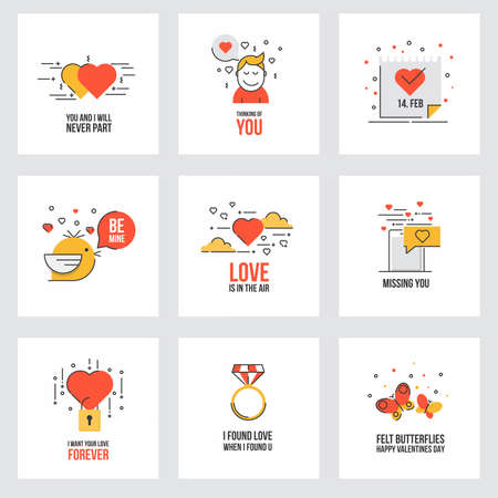 amore: Set of flat line design Valentines day greeting cards, web banner, badge, ad and printed materials. Vector Illustration