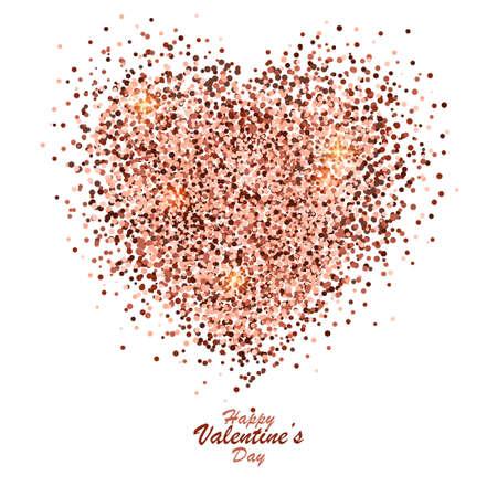 glitter hearts: Valentines Day golden banner, glitter heart on white background. Vector Illustration Illustration