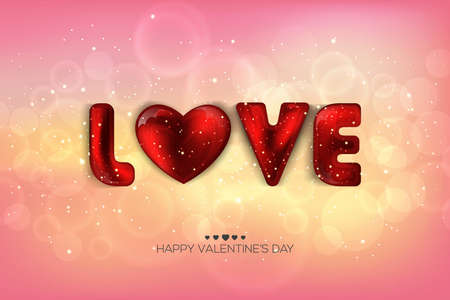 Love letters design on a pink background with bokeh and light. Happy Valentines Day Card Design. 14 February. I Love You. Vector Illustration