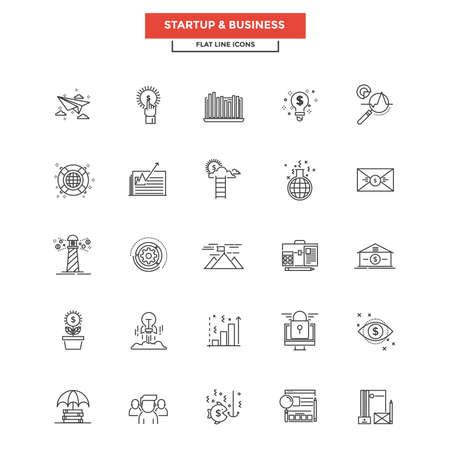office product: Set of Modern Flat Line icon, Concept of Business.