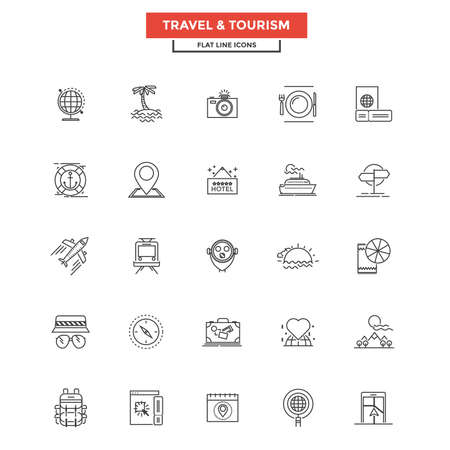 Set of Modern Flat Line icon, Concept of Travel and Tourism.