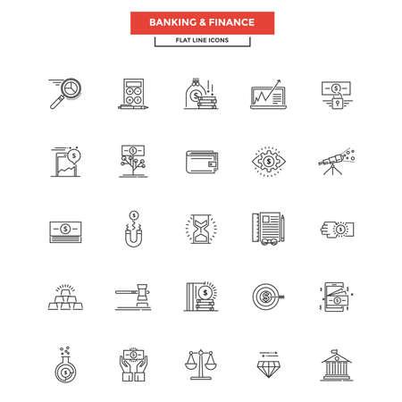 Conjunto de icono moderno de la línea plana, Concepto de Banca y Finanzas. Ilustración de vector