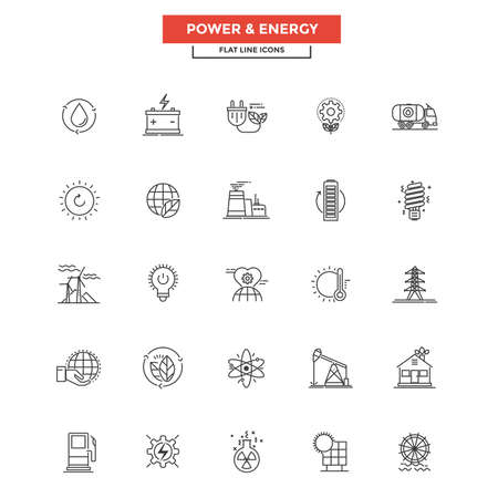 purification: Set of Modern Flat Line icon, Concept of Power and Energy. Illustration