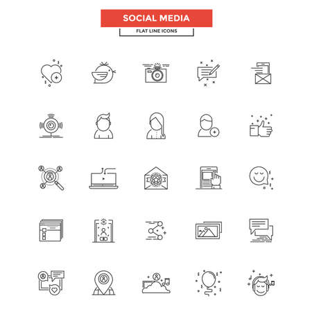 Set of Modern Flat Line icon, Concept of Social Media